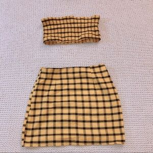 Yellow plaids prints tube top and skirt set